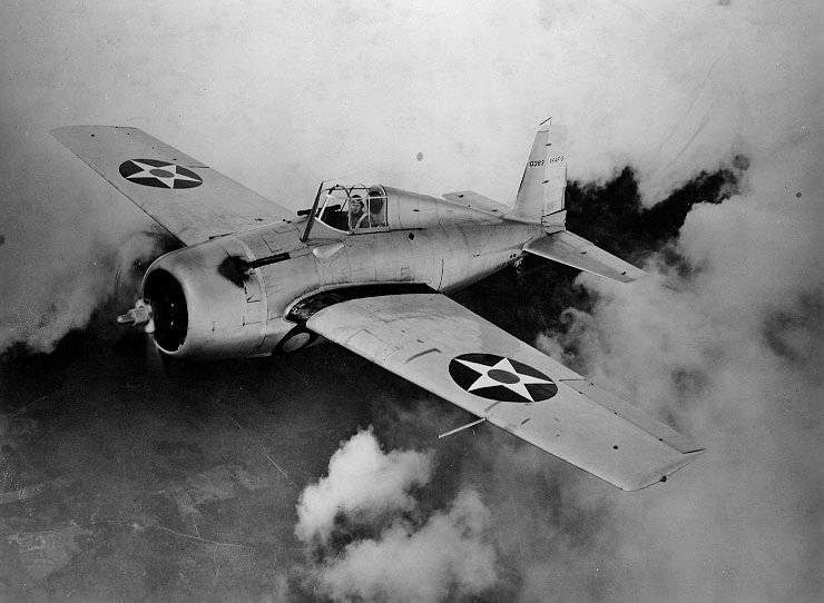 The better known F4F Wildcat of World War II was a monoplane development of an improved F3F biplane