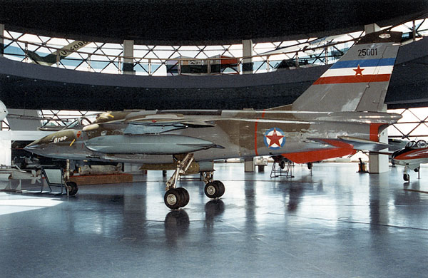 Yugoslavian J-22 Orao, a prototype No. 1, on display in the Museum of Aviation in Belgrade..jpg